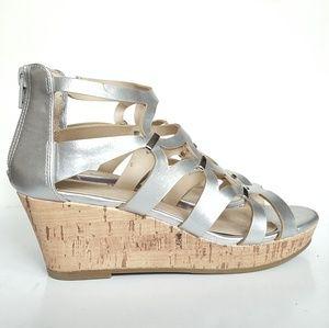 Cat & Jack Girls Silver Cork Wedge Sandal